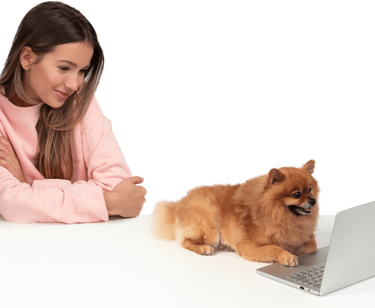 Girl with dog on laptop